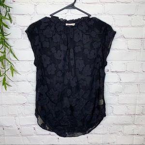 Rebecca Taylor sheer silk floral smocked blouse 2